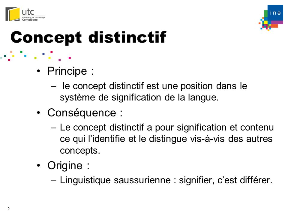 Concept distinctif Principe : Conséquence : Origine :