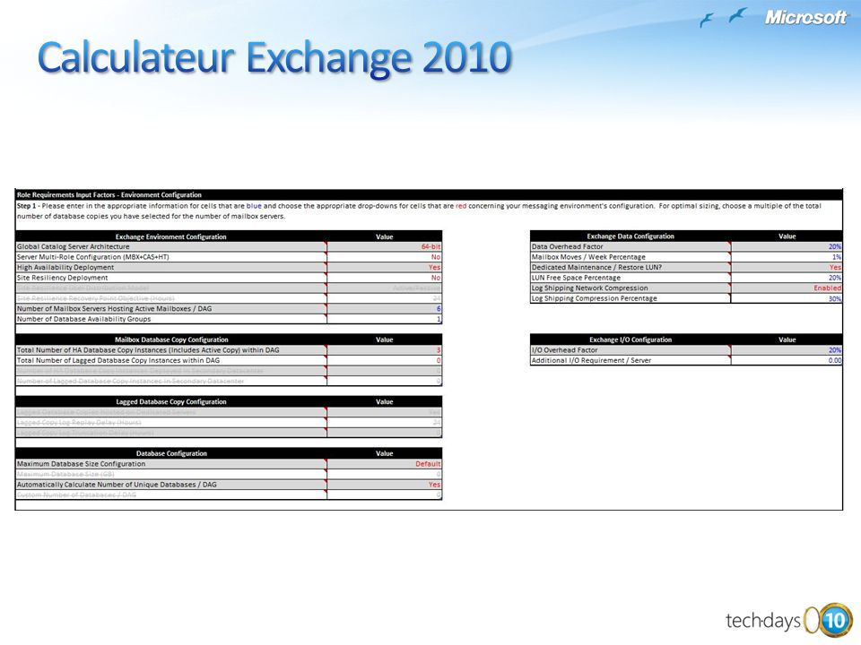 Calculateur Exchange 2010