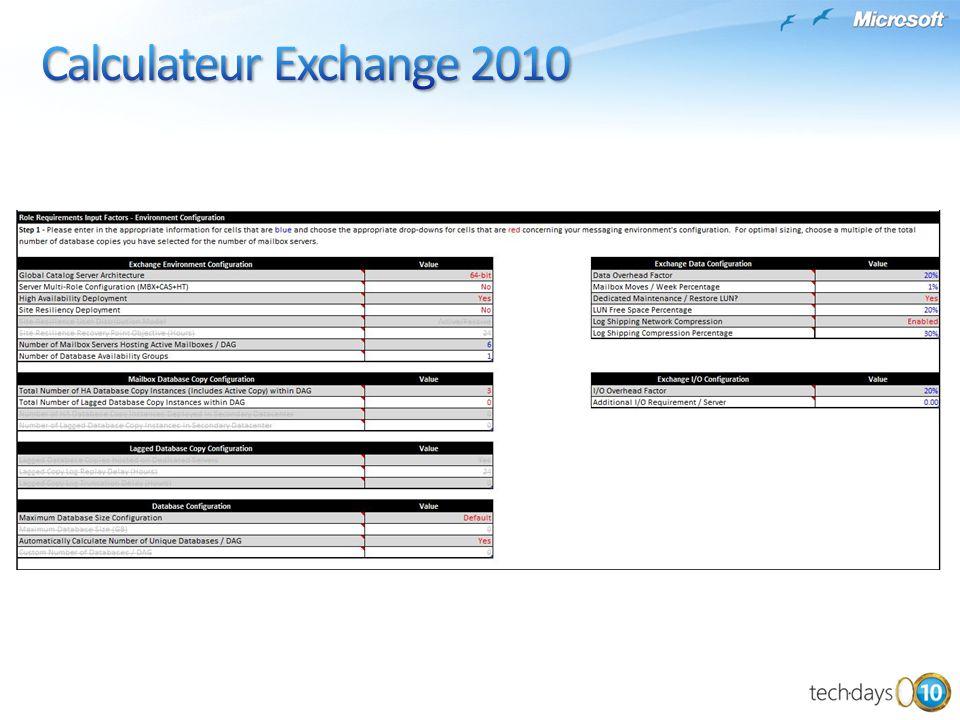 Calculateur Exchange 2010