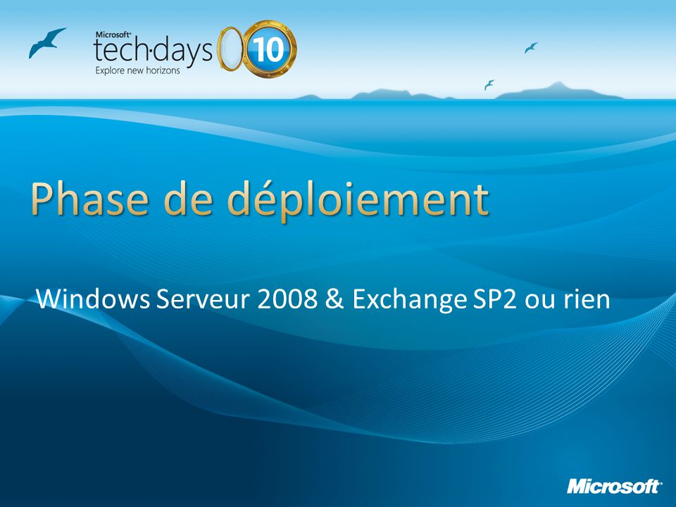 Windows Serveur 2008 & Exchange SP2 ou rien
