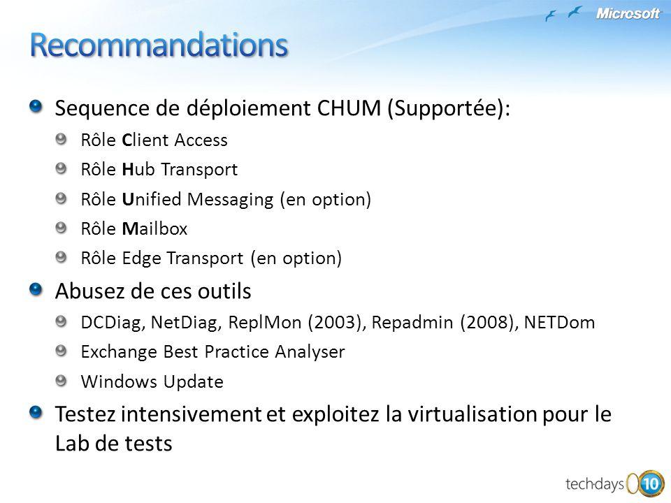 Recommandations Sequence de déploiement CHUM (Supportée):