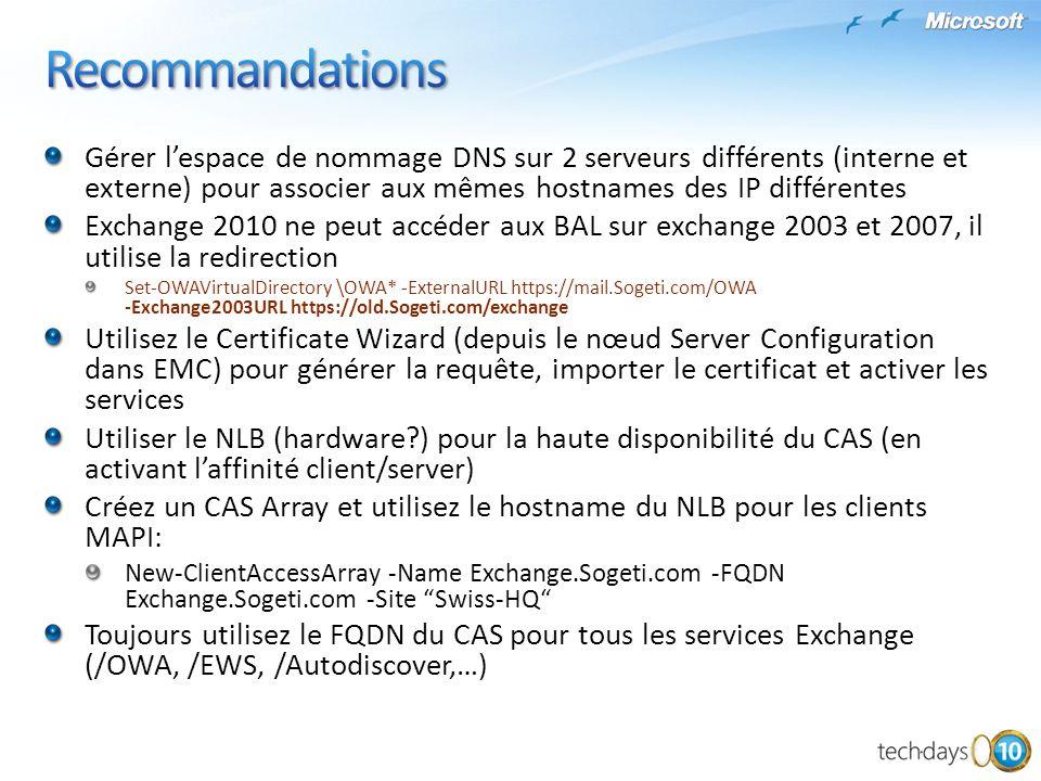 Recommandations Gérer l'espace de nommage DNS sur 2 serveurs différents (interne et externe) pour associer aux mêmes hostnames des IP différentes.