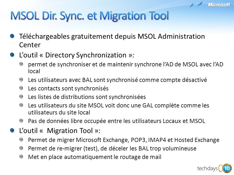 MSOL Dir. Sync. et Migration Tool