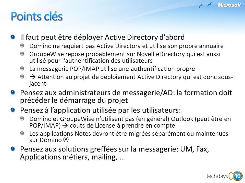 Points clés Il faut peut être déployer Active Directory d'abord