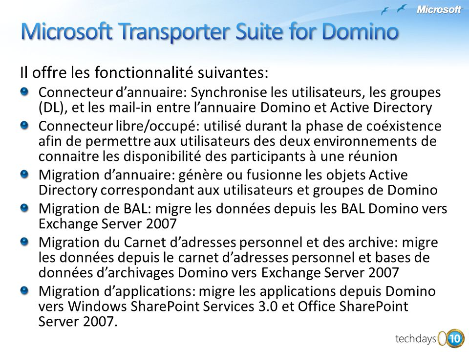Microsoft Transporter Suite for Domino