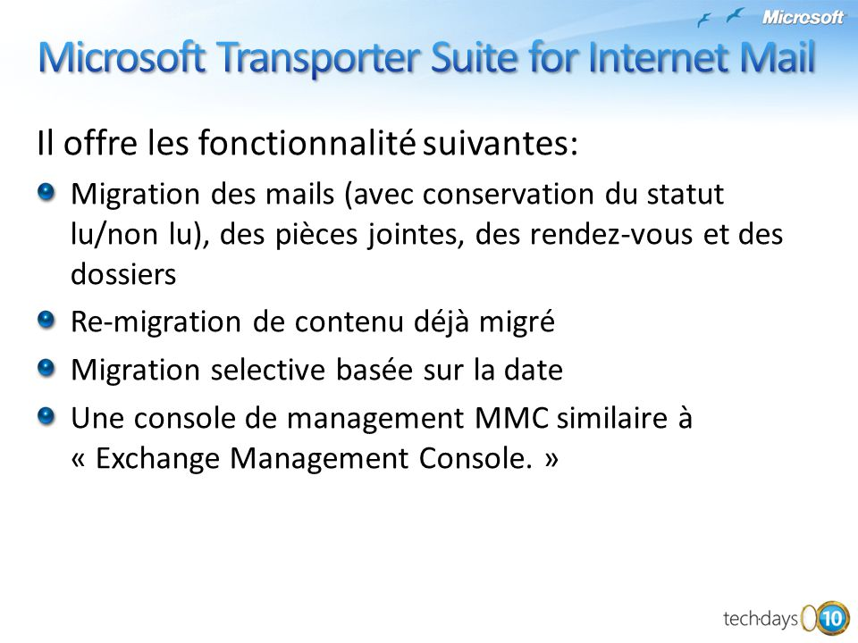 Microsoft Transporter Suite for Internet Mail
