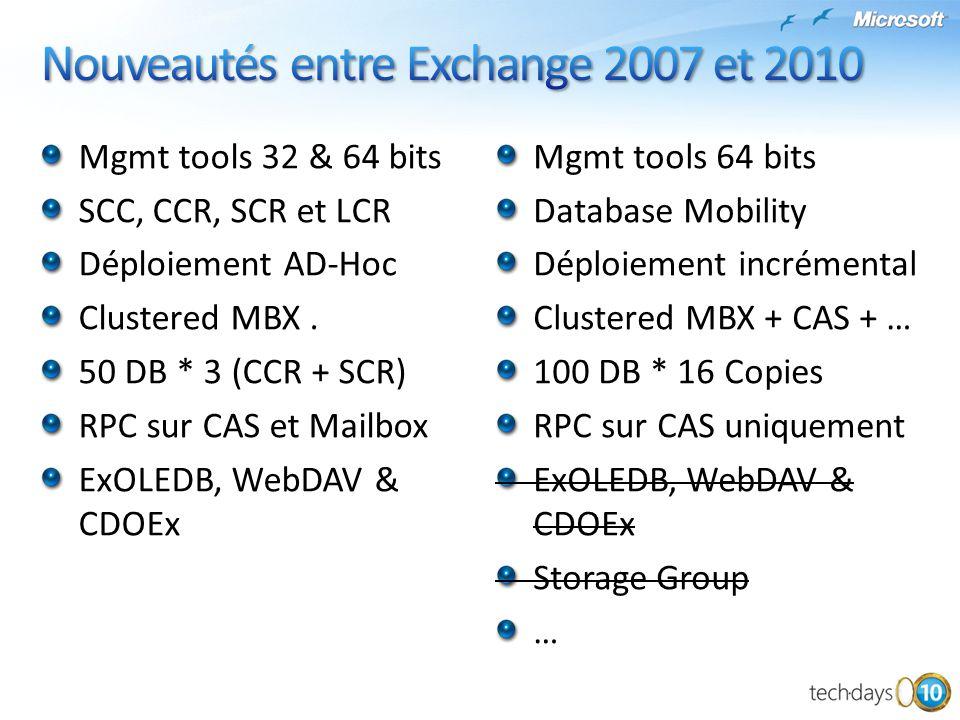 Nouveautés entre Exchange 2007 et 2010
