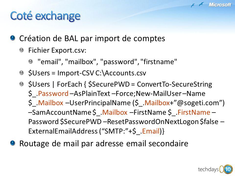 Coté exchange Création de BAL par import de comptes