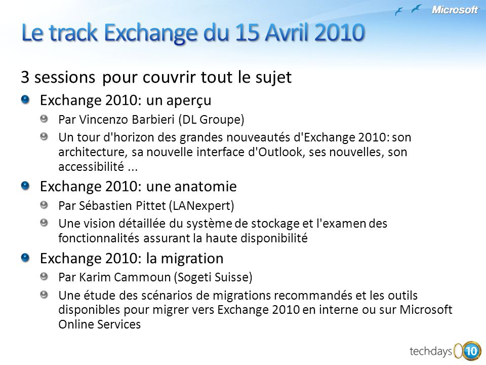Le track Exchange du 15 Avril 2010
