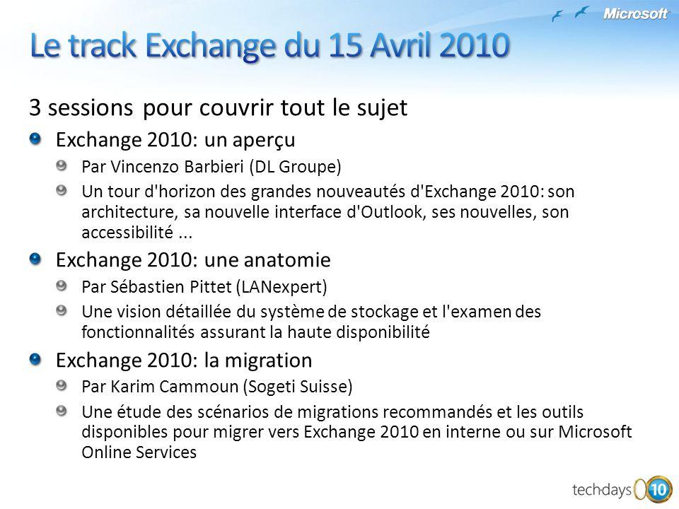 Le track Exchange du 15 Avril 2010