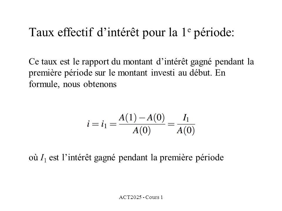 Taux effectif d'intérêt pour la 1e période: