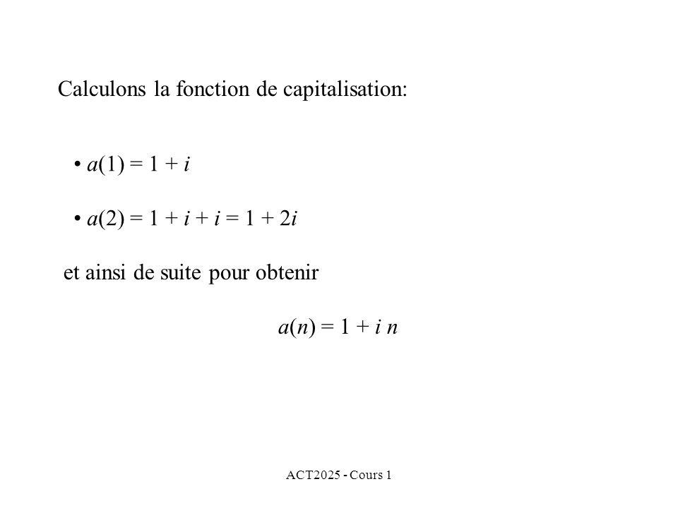 Calculons la fonction de capitalisation: