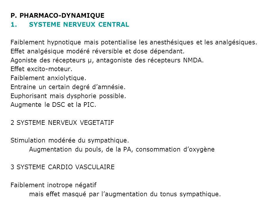 P. PHARMACO-DYNAMIQUE SYSTEME NERVEUX CENTRAL. Faiblement hypnotique mais potentialise les anesthésiques et les analgésiques.