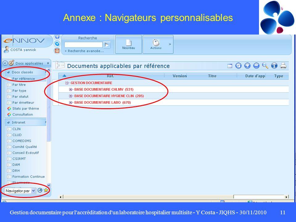 Annexe : Navigateurs personnalisables