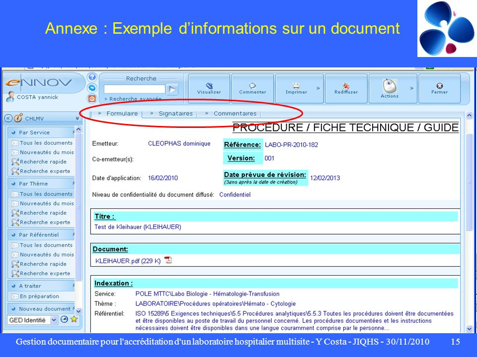 Annexe : Exemple d'informations sur un document