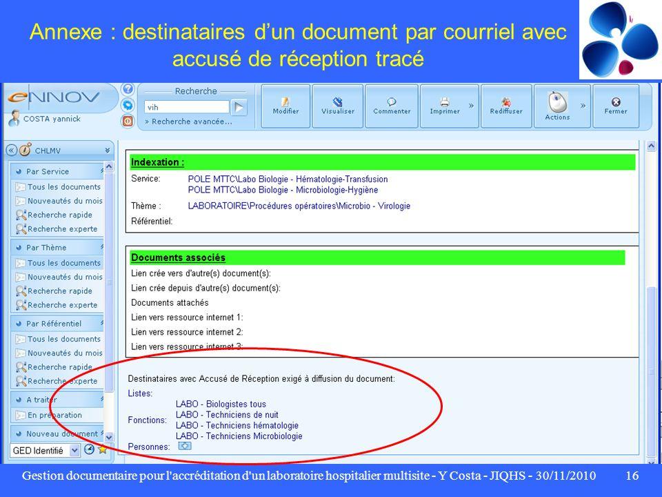 Annexe : destinataires d'un document par courriel avec accusé de réception tracé
