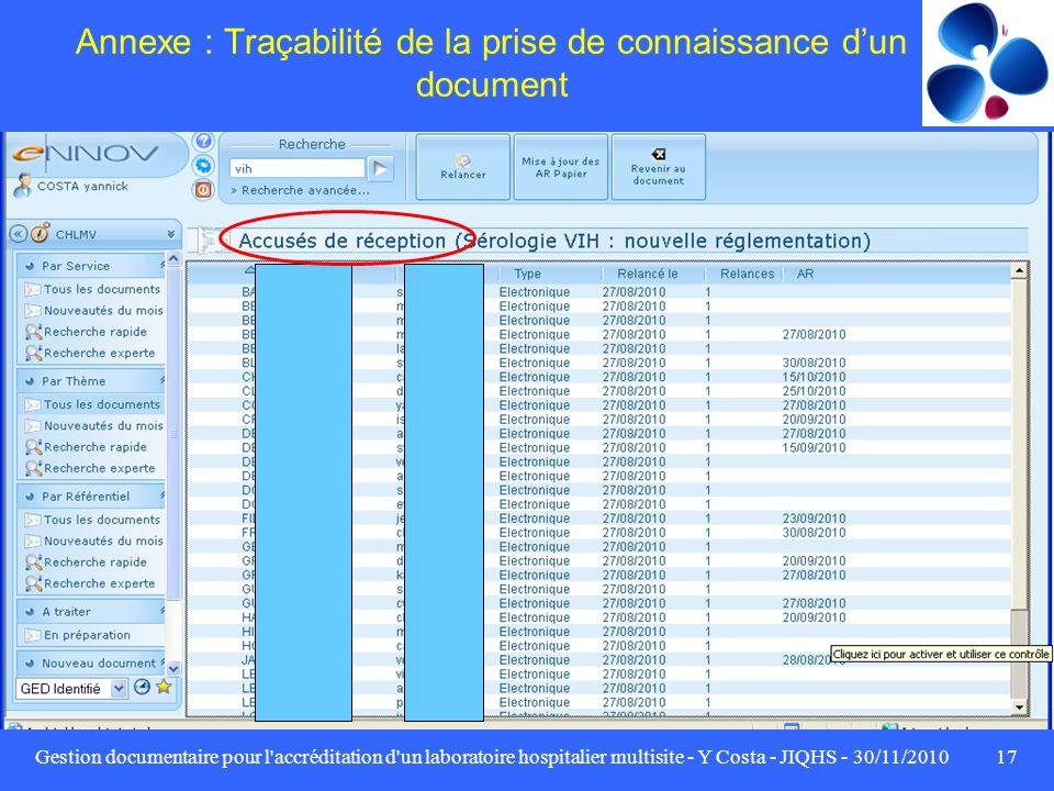 Annexe : Traçabilité de la prise de connaissance d'un document
