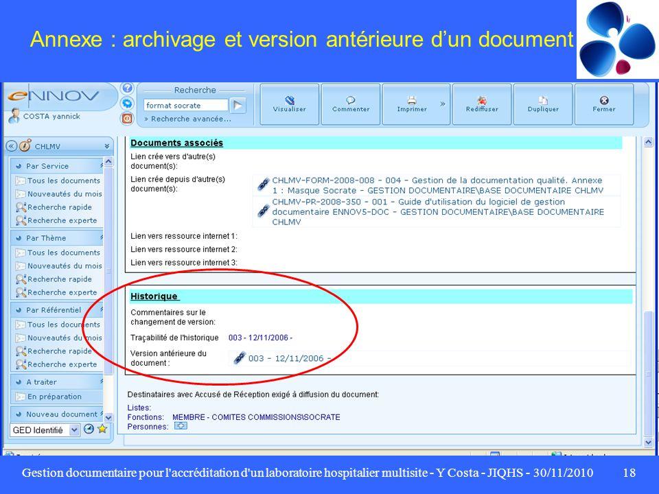 Annexe : archivage et version antérieure d'un document