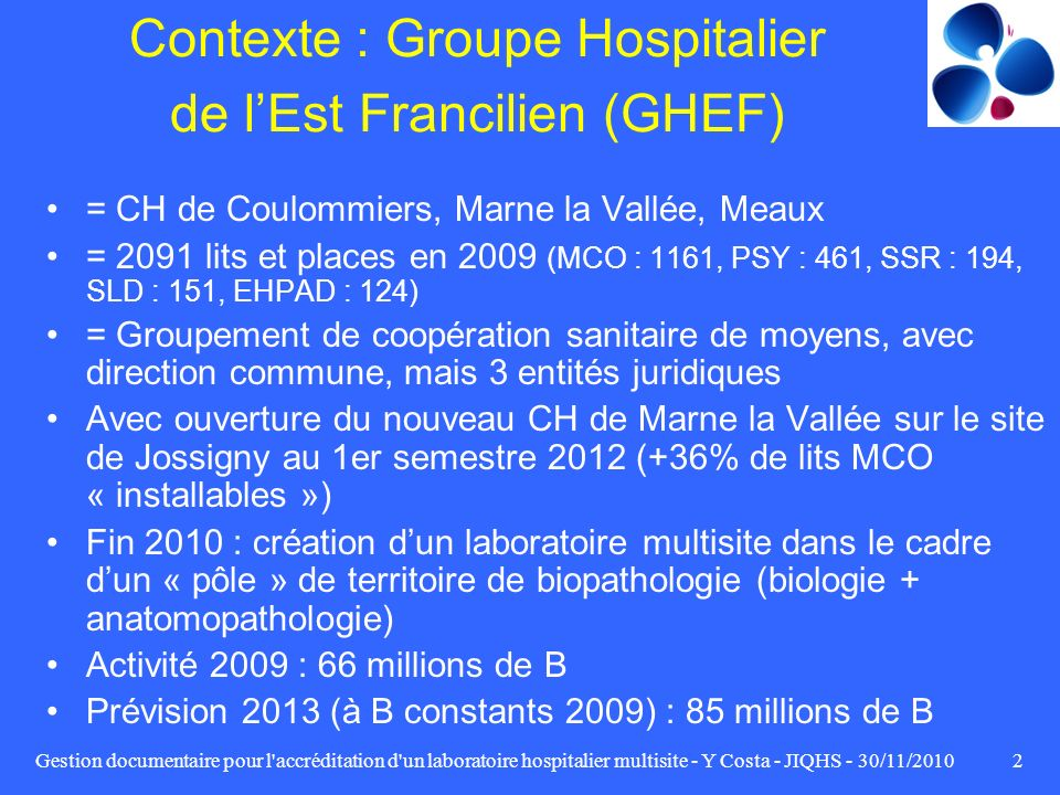Contexte : Groupe Hospitalier de l'Est Francilien (GHEF)