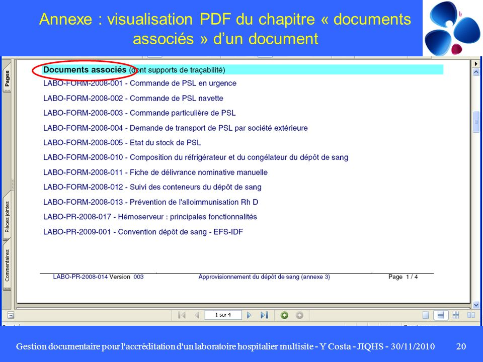 Annexe : visualisation PDF du chapitre « documents associés » d'un document