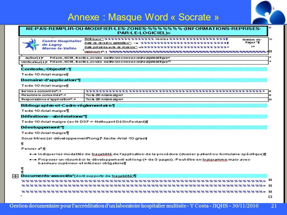 Annexe : Masque Word « Socrate »