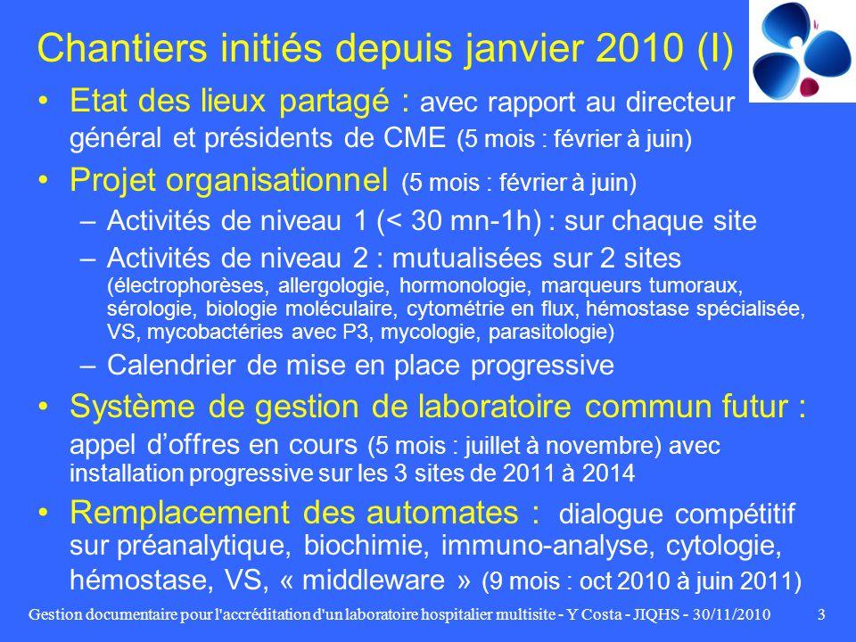 Chantiers initiés depuis janvier 2010 (I)