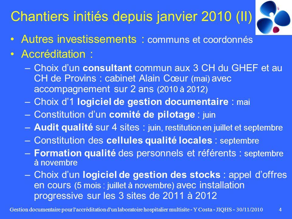 Chantiers initiés depuis janvier 2010 (II)