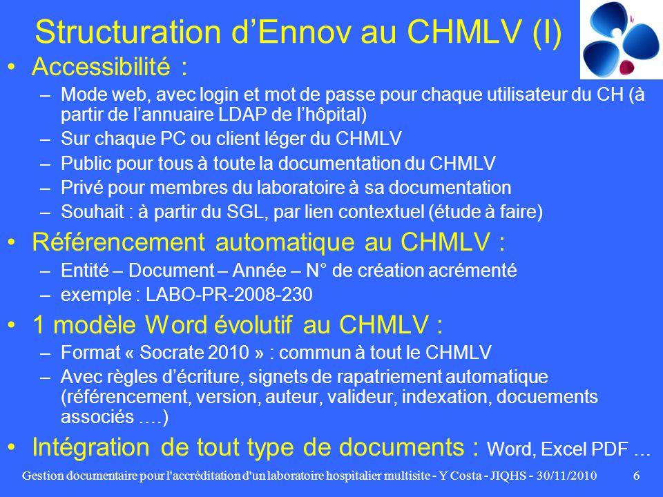 Structuration d'Ennov au CHMLV (I)