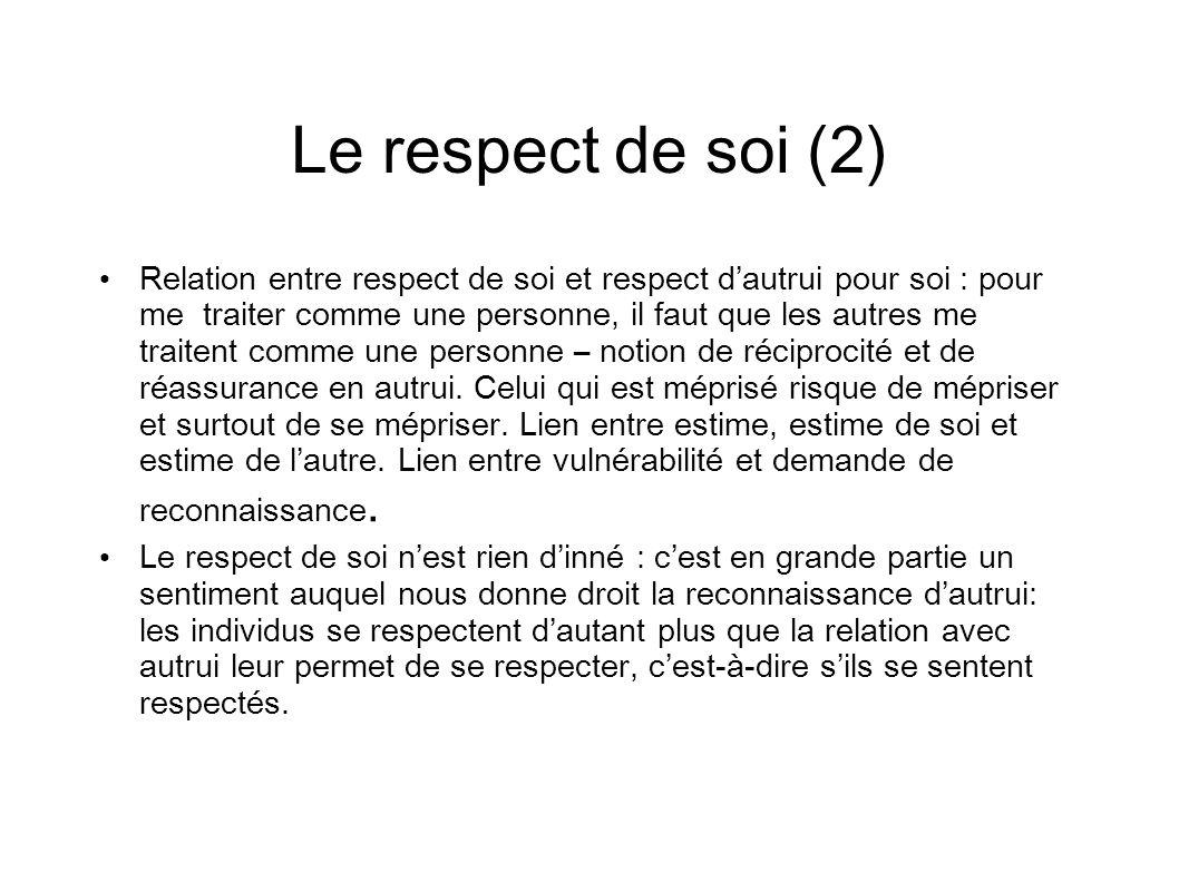 Le respect de soi (2)