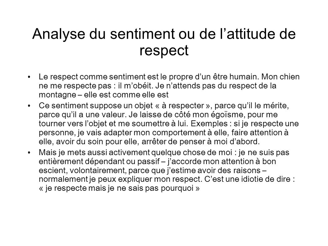 Analyse du sentiment ou de l'attitude de respect