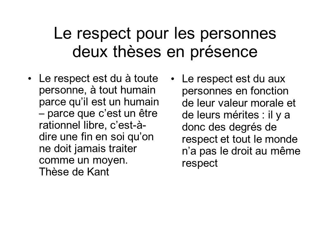 Le respect pour les personnes deux thèses en présence