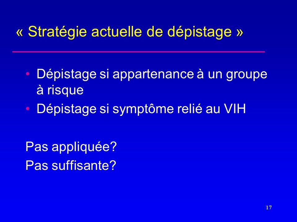 « Stratégie actuelle de dépistage »
