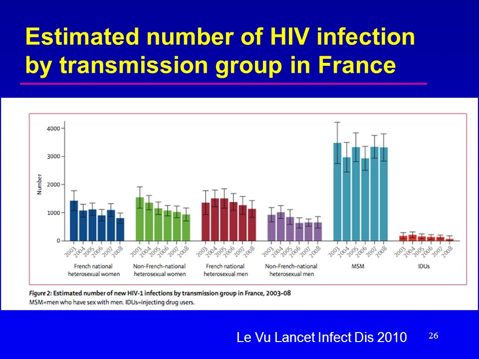 Estimated number of HIV infection by transmission group in France