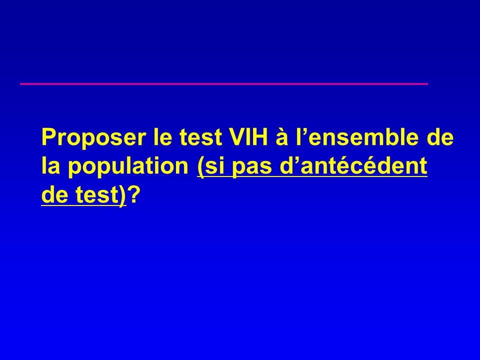 Proposer le test VIH à l'ensemble de la population (si pas d'antécédent de test)