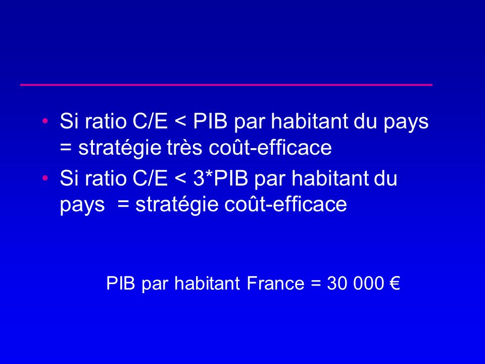 Si ratio C/E < 3*PIB par habitant du pays = stratégie coût-efficace