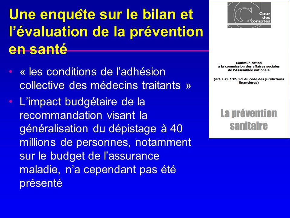 Une enquête sur le bilan et l'évaluation de la prévention en santé