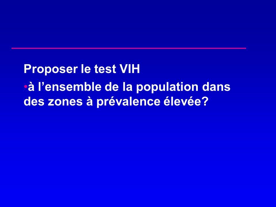 Proposer le test VIH à l'ensemble de la population dans des zones à prévalence élevée