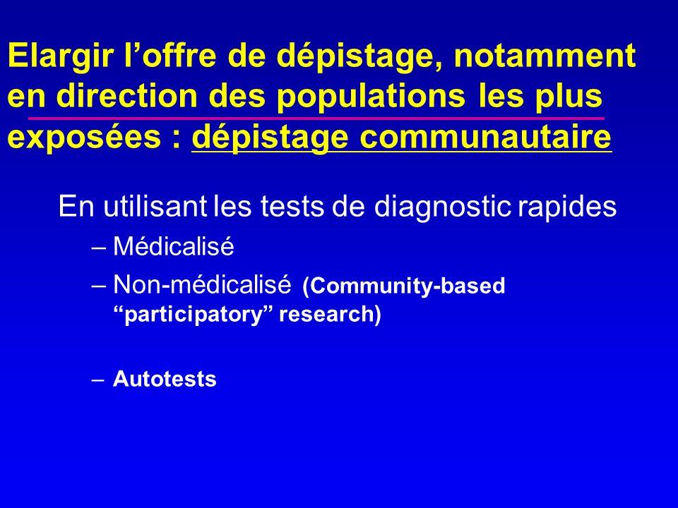 Elargir l'offre de dépistage, notamment en direction des populations les plus exposées : dépistage communautaire