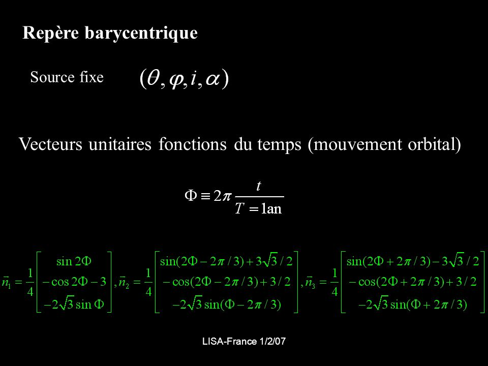 Vecteurs unitaires fonctions du temps (mouvement orbital)