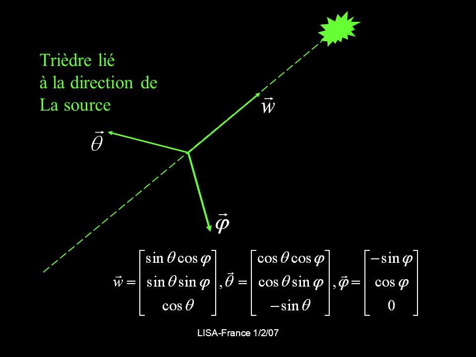 Trièdre lié à la direction de La source LISA-France 1/2/07
