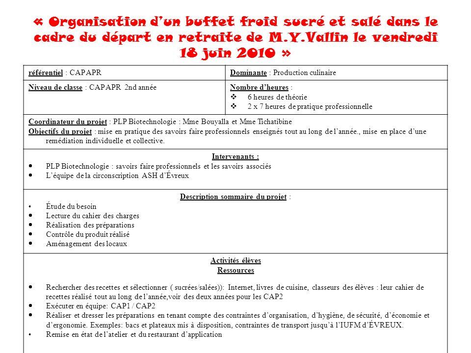 Description sommaire du projet ppt t l charger - Referentiel cap cuisine ...