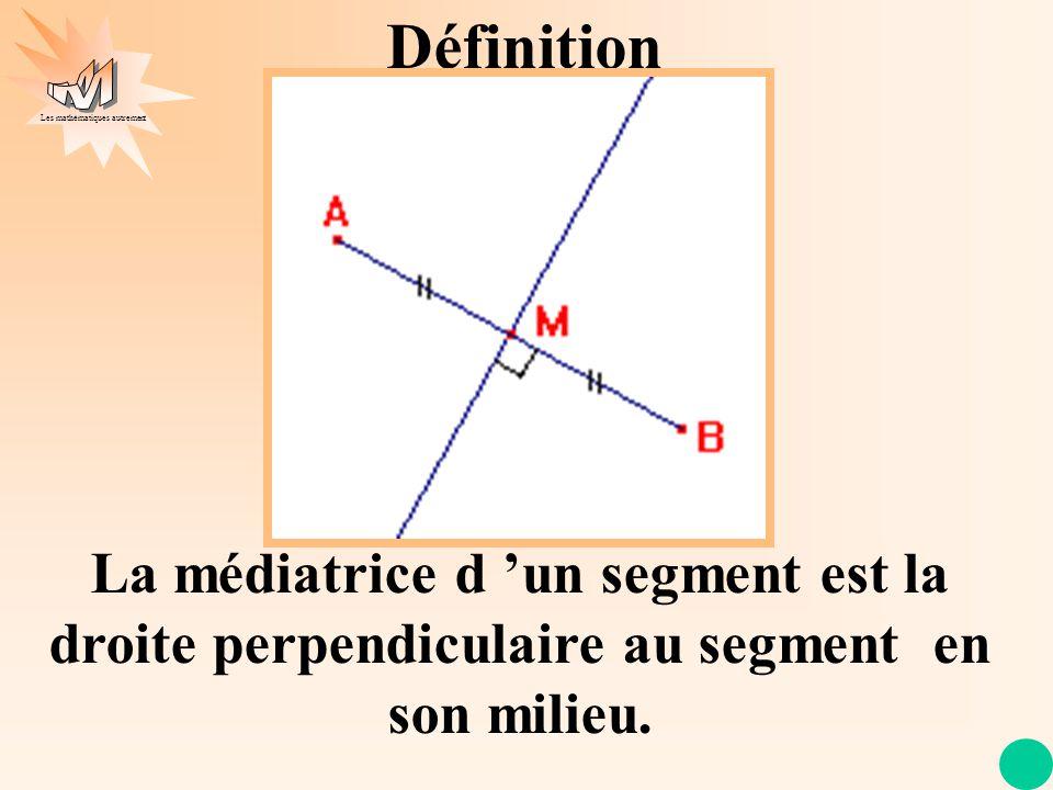 Définition La médiatrice d 'un segment est la droite perpendiculaire au segment en son milieu.