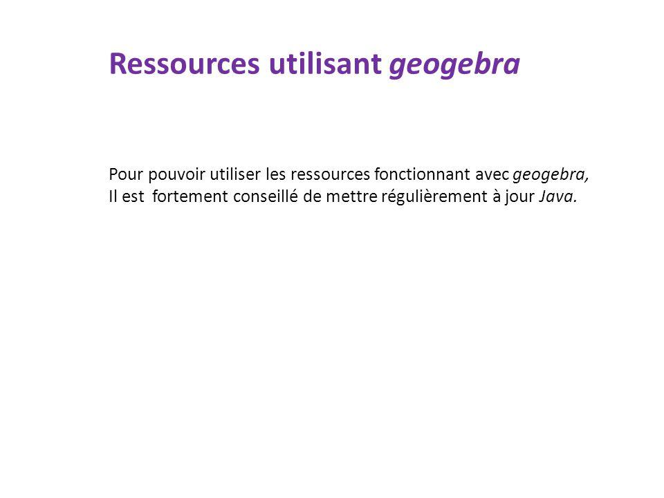 Ressources utilisant geogebra
