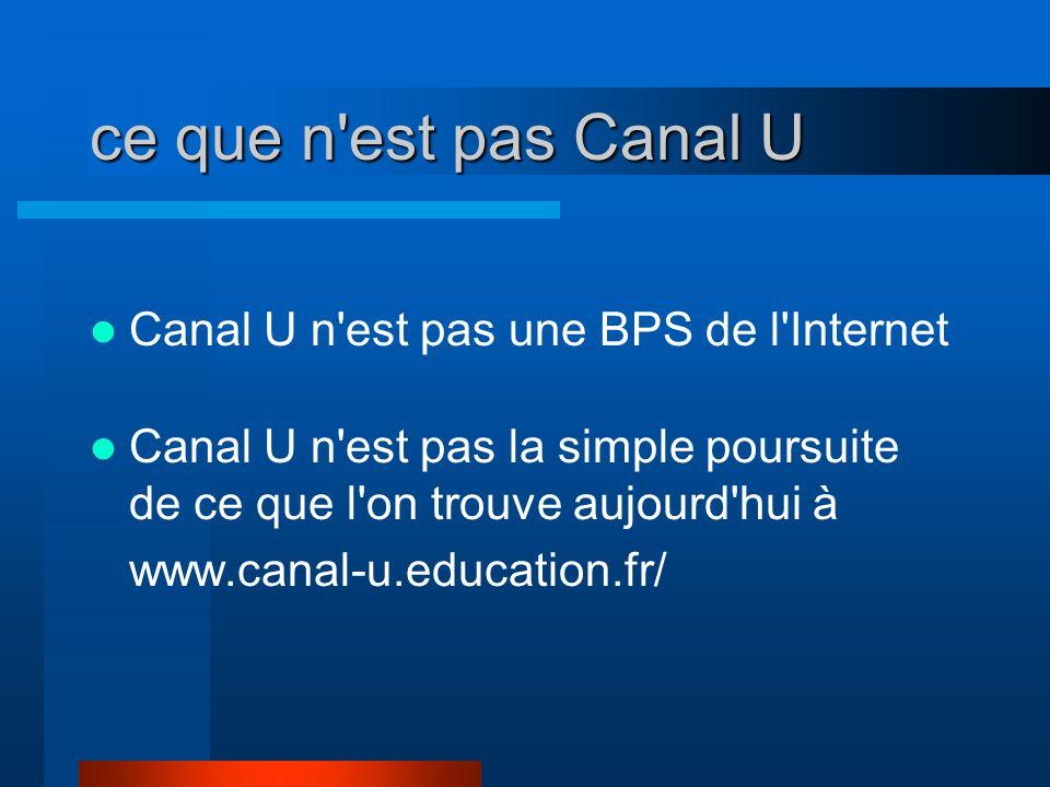 ce que n est pas Canal U Canal U n est pas une BPS de l Internet