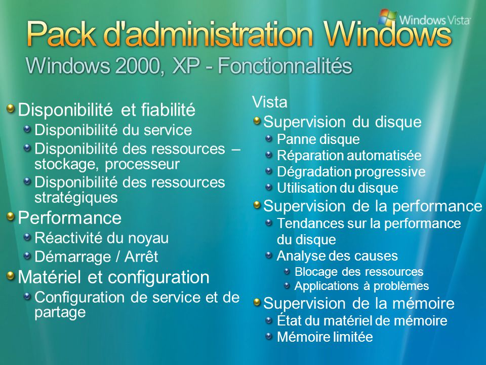 Pack d administration Windows Windows 2000, XP - Fonctionnalités