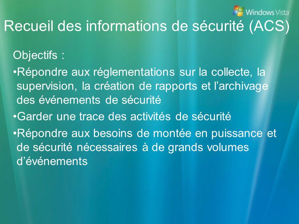 Recueil des informations de sécurité (ACS)