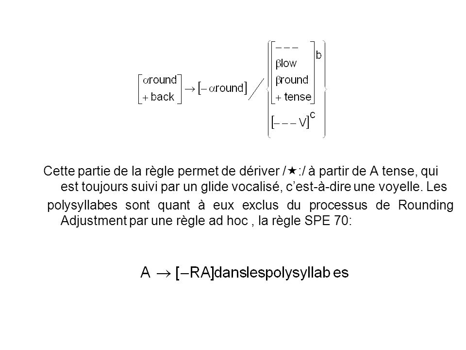 Cette partie de la règle permet de dériver /:/ à partir de A tense, qui est toujours suivi par un glide vocalisé, c'est-à-dire une voyelle. Les