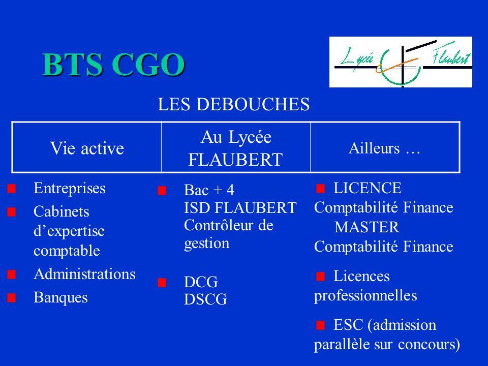 BTS CGO Au Lycée FLAUBERT Vie active LES DEBOUCHES Ailleurs …