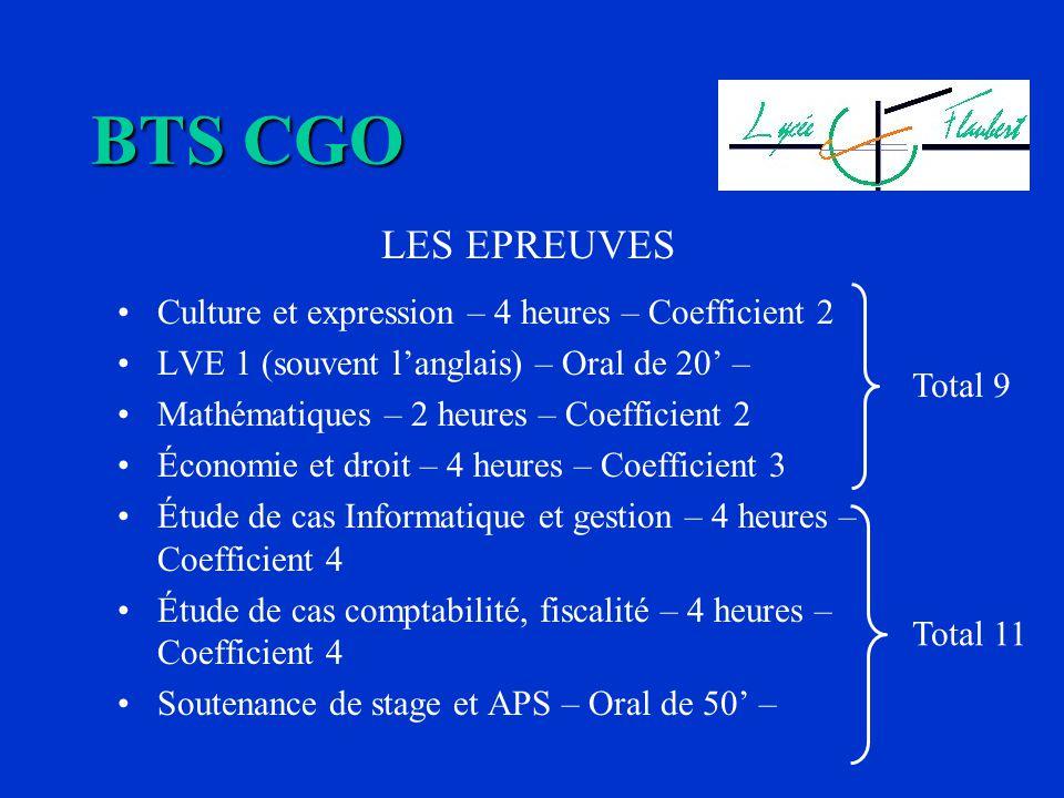 BTS CGO LES EPREUVES Culture et expression – 4 heures – Coefficient 2