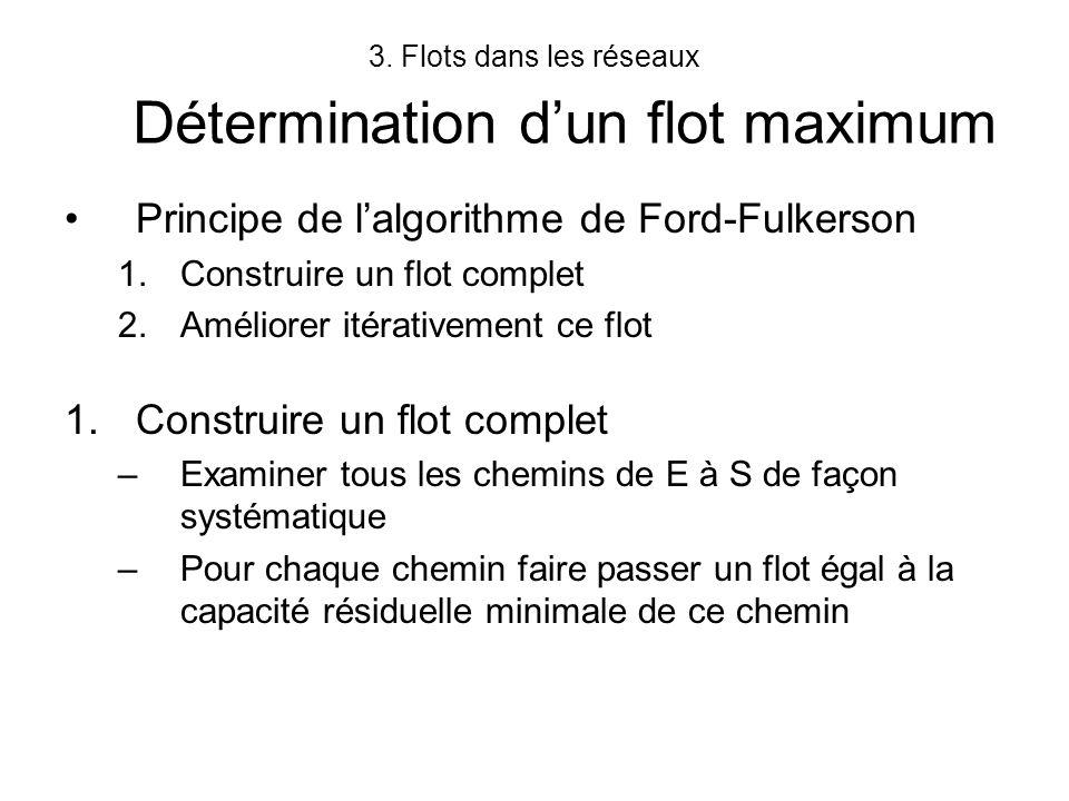 3. Flots dans les réseaux Détermination d'un flot maximum